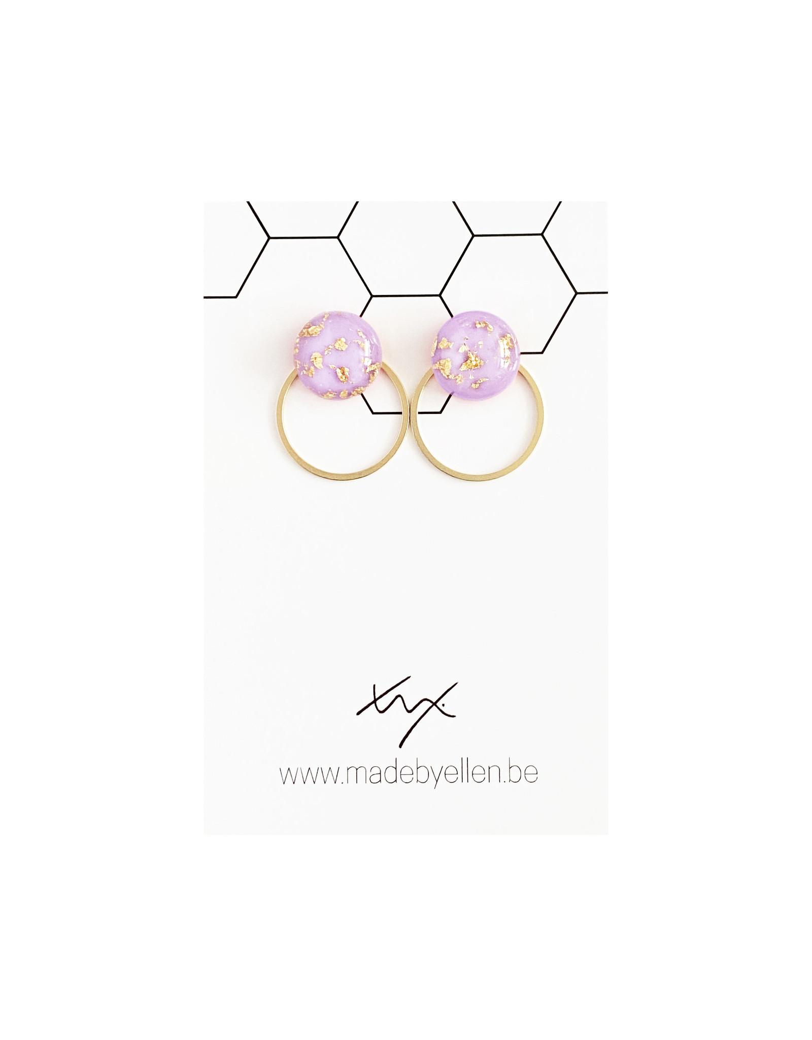 Stekertjes goudfolie 12mm paars met ring