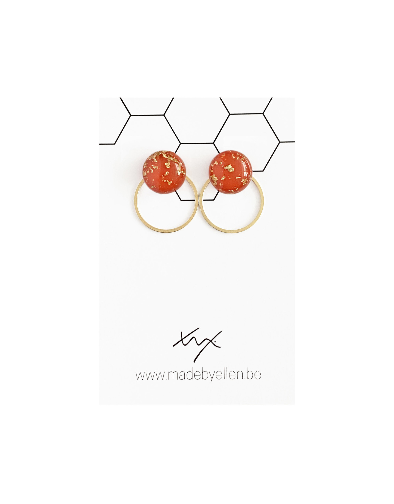 Stekertjes goudfolie 12mm rood met ring
