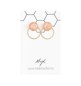 Stekertjes goudfolie 12mm roze met ring