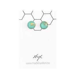 Stekertjes goudfolie 12mm turquoise