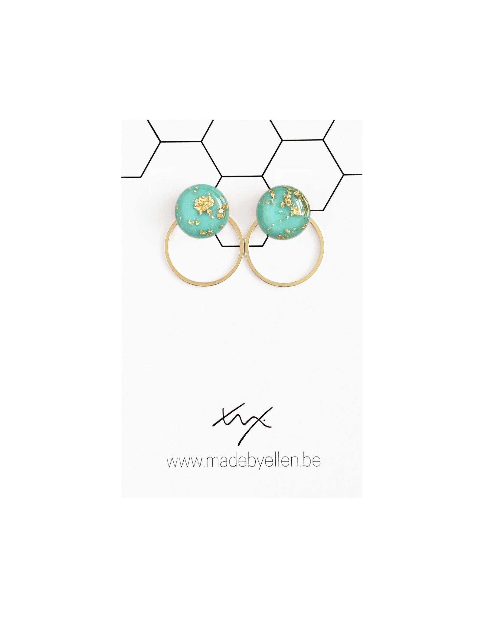 Stekertjes goudfolie 12mm turquoise met ring