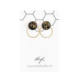 Stekertjes goudfolie 12mm zwart met ring