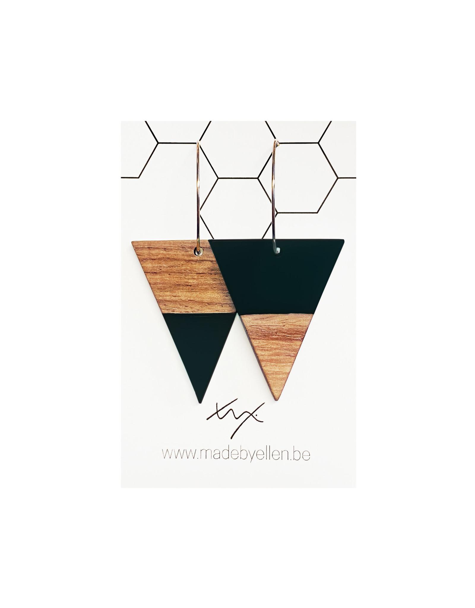 oorbEllen hars&hout triangel zwart creolen