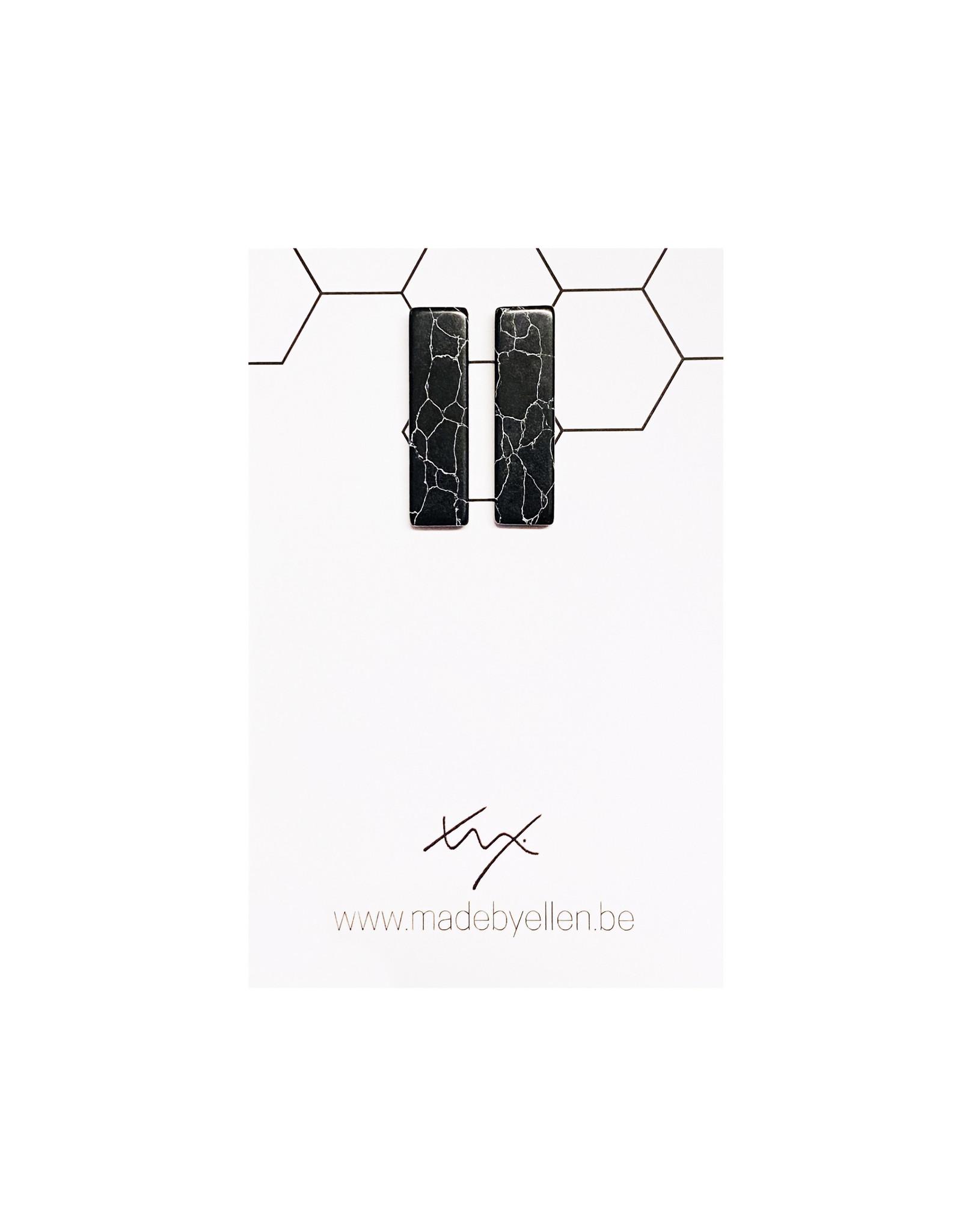 Stekers marmer rechthoek lang zwart
