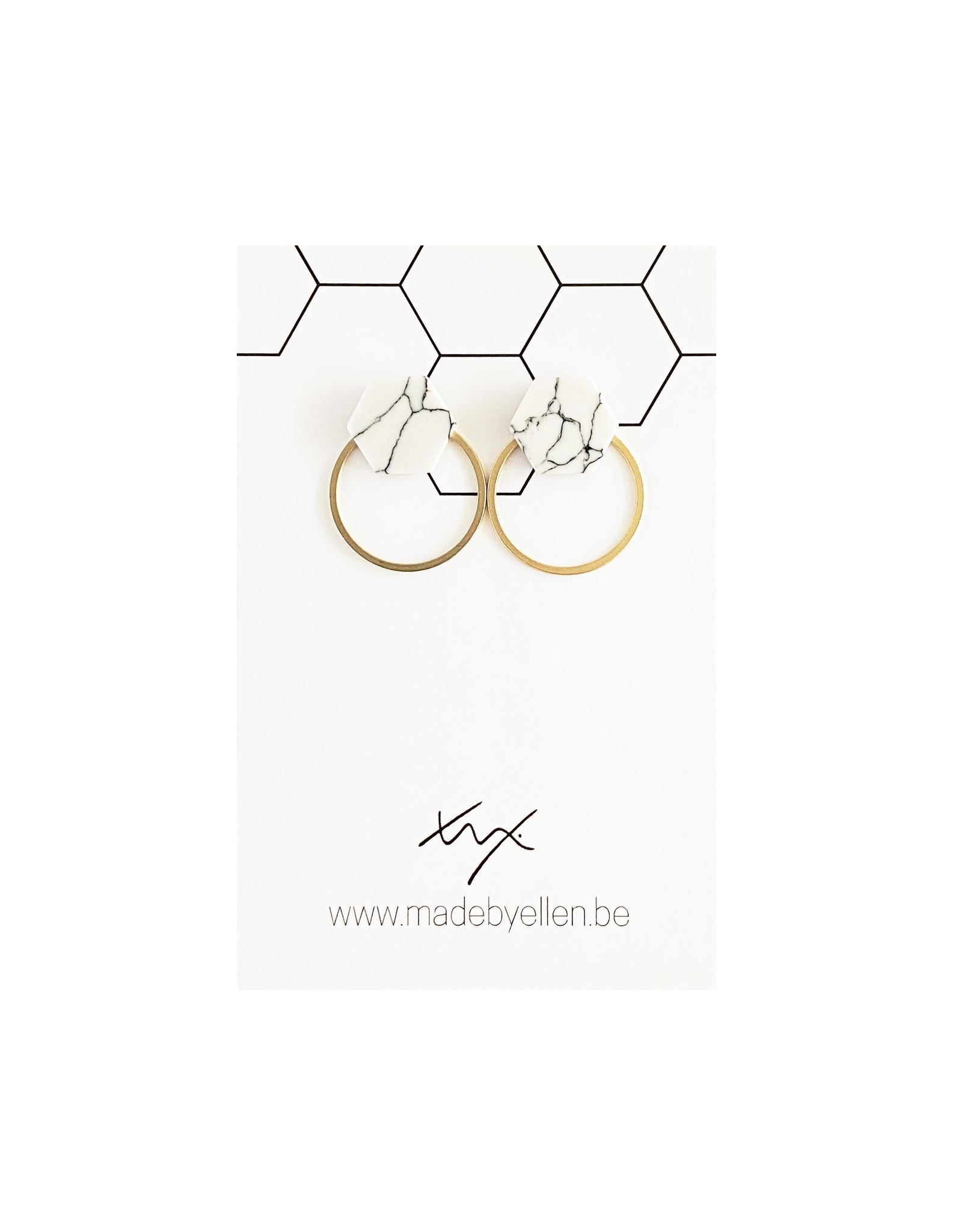 Stekers marmer zeshoekje wit met ring