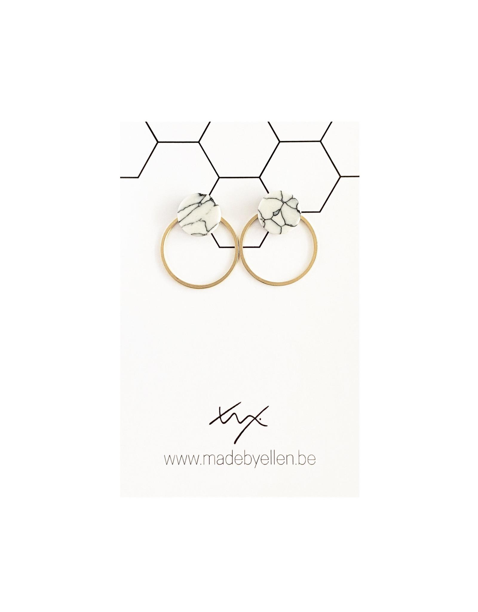 Stekers marmer rond wit 10mm met ring