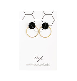 Stekers marmer rond zwart 10mm met ring