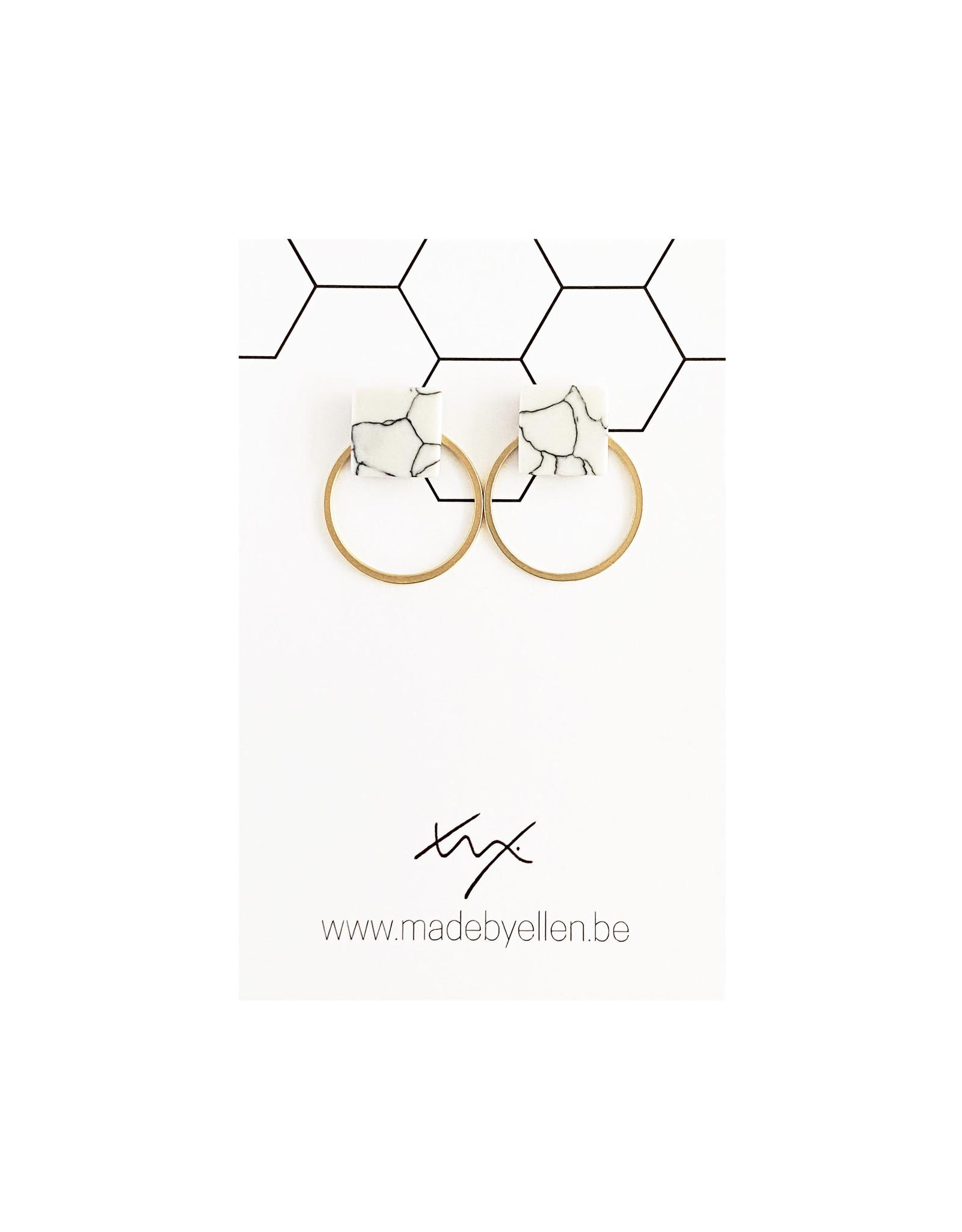 Stekers marmer vierkant wit met ring