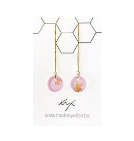 oorbEllen acryl 12mm doortrekker roze folie goud