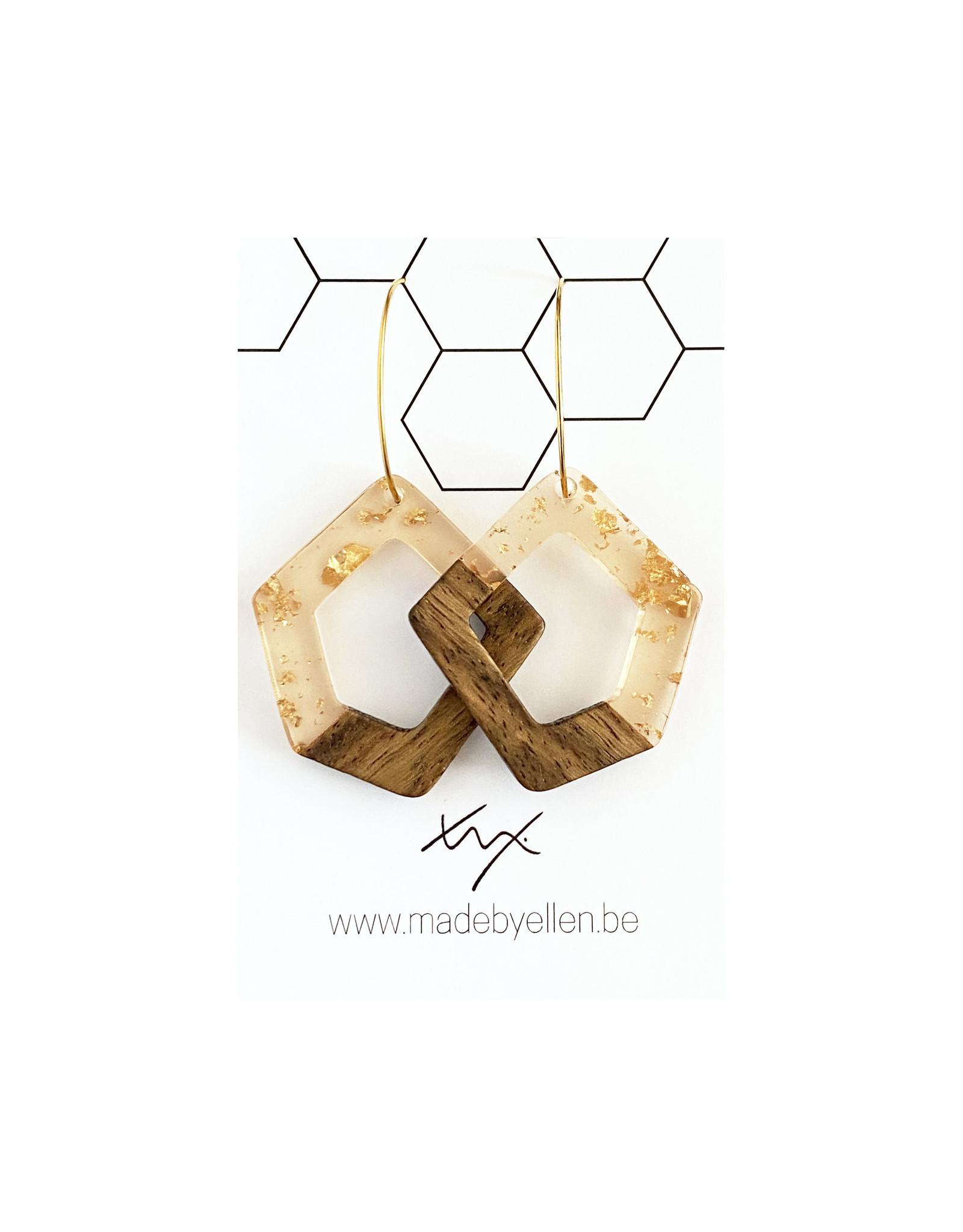 oorbEllen hars&hout vijfhoek goudfolie creolen