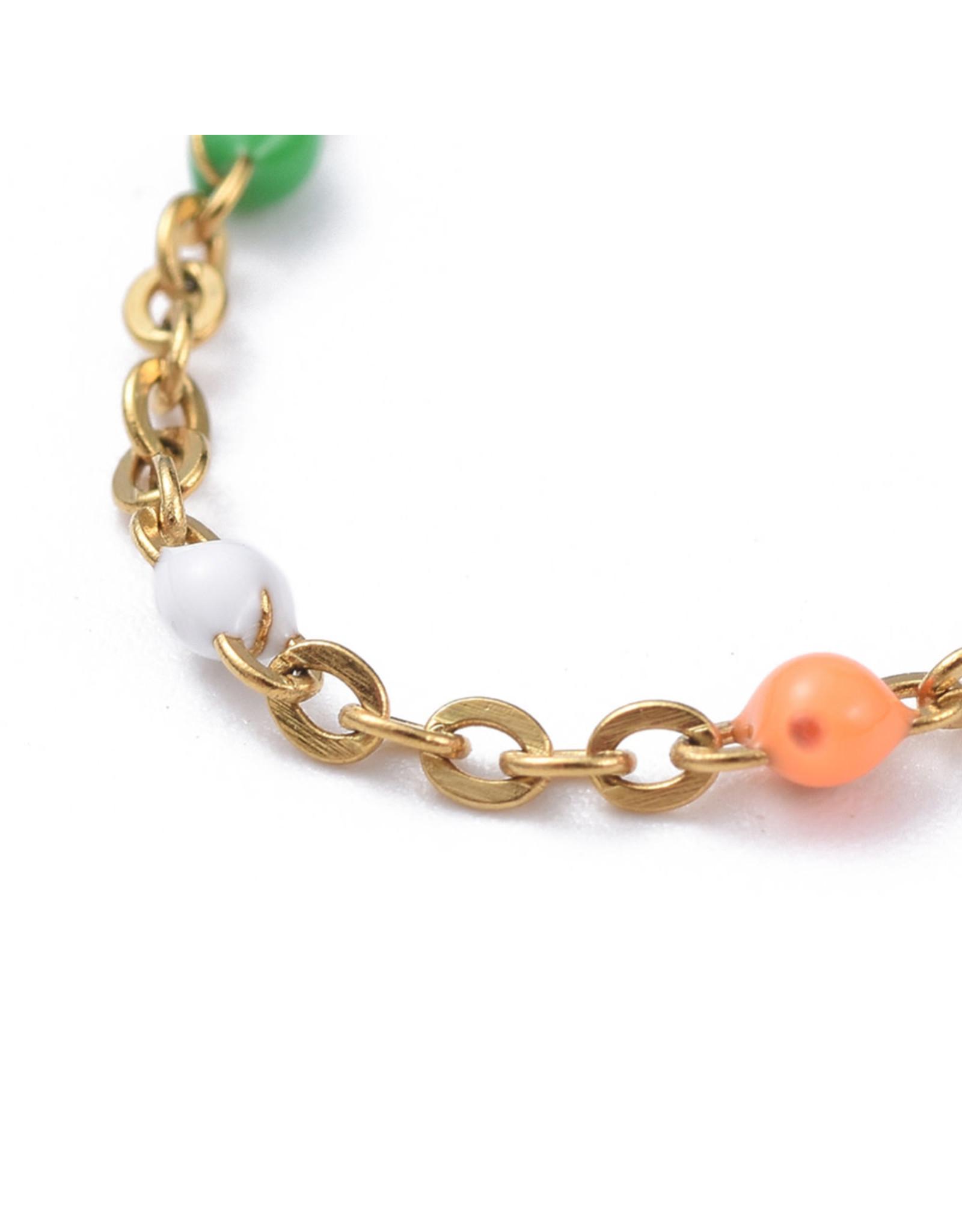 Armbandje RVS regenboog goudkleurig