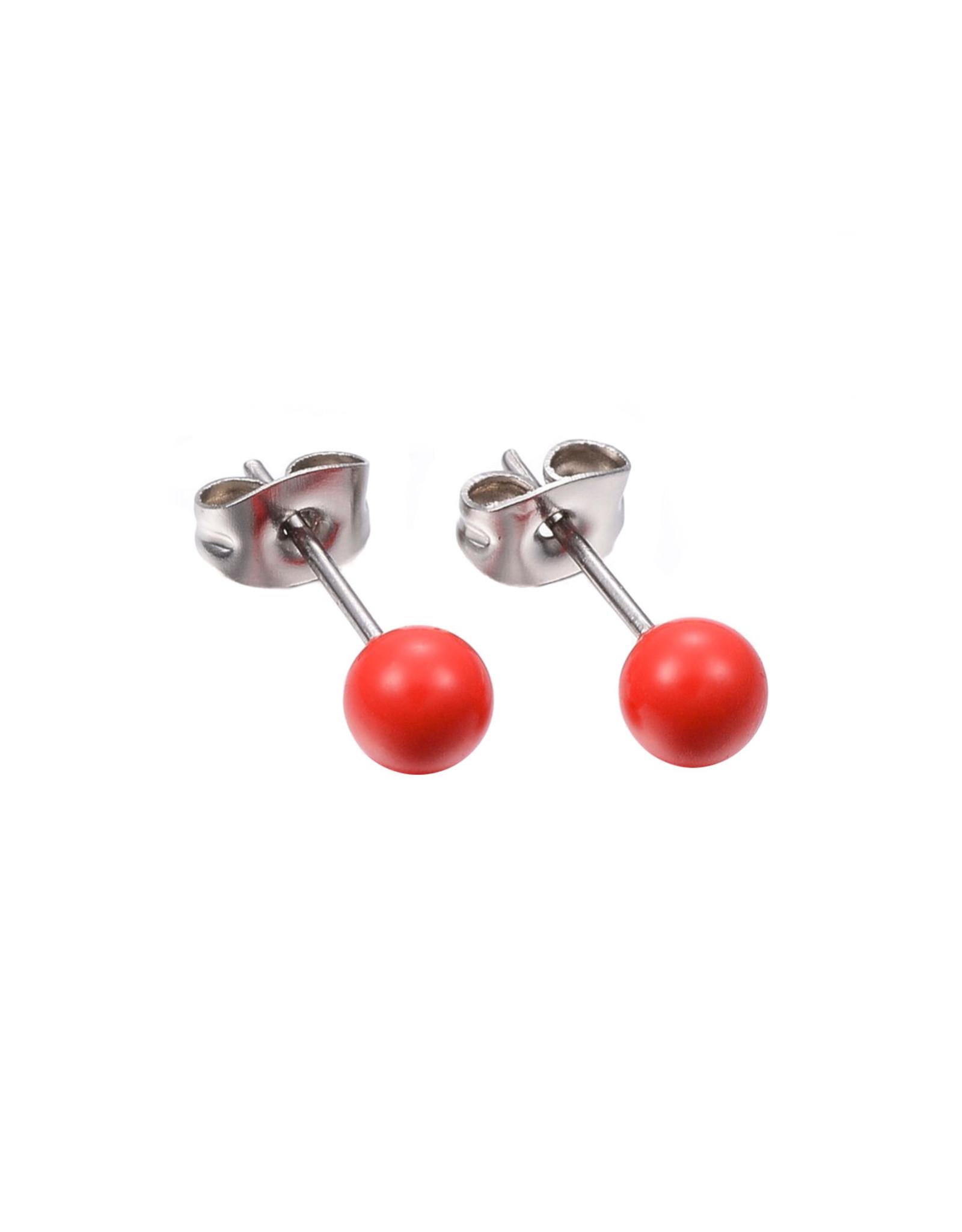 Stekers RVS bolletje rood 6mm