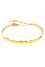 Armband RVS ovalen geel