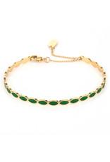 Armband RVS ovalen groen