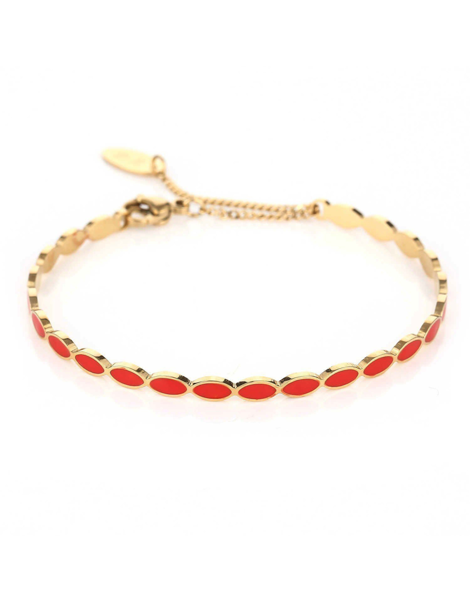 Armband RVS ovalen rood