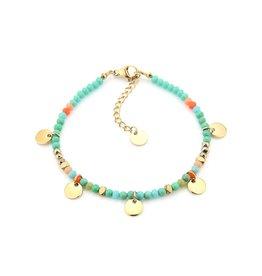 Armbandje strass & schijfjes RVS turquoise