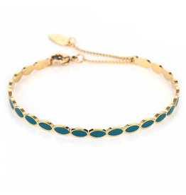 Armband RVS ovalen blauw