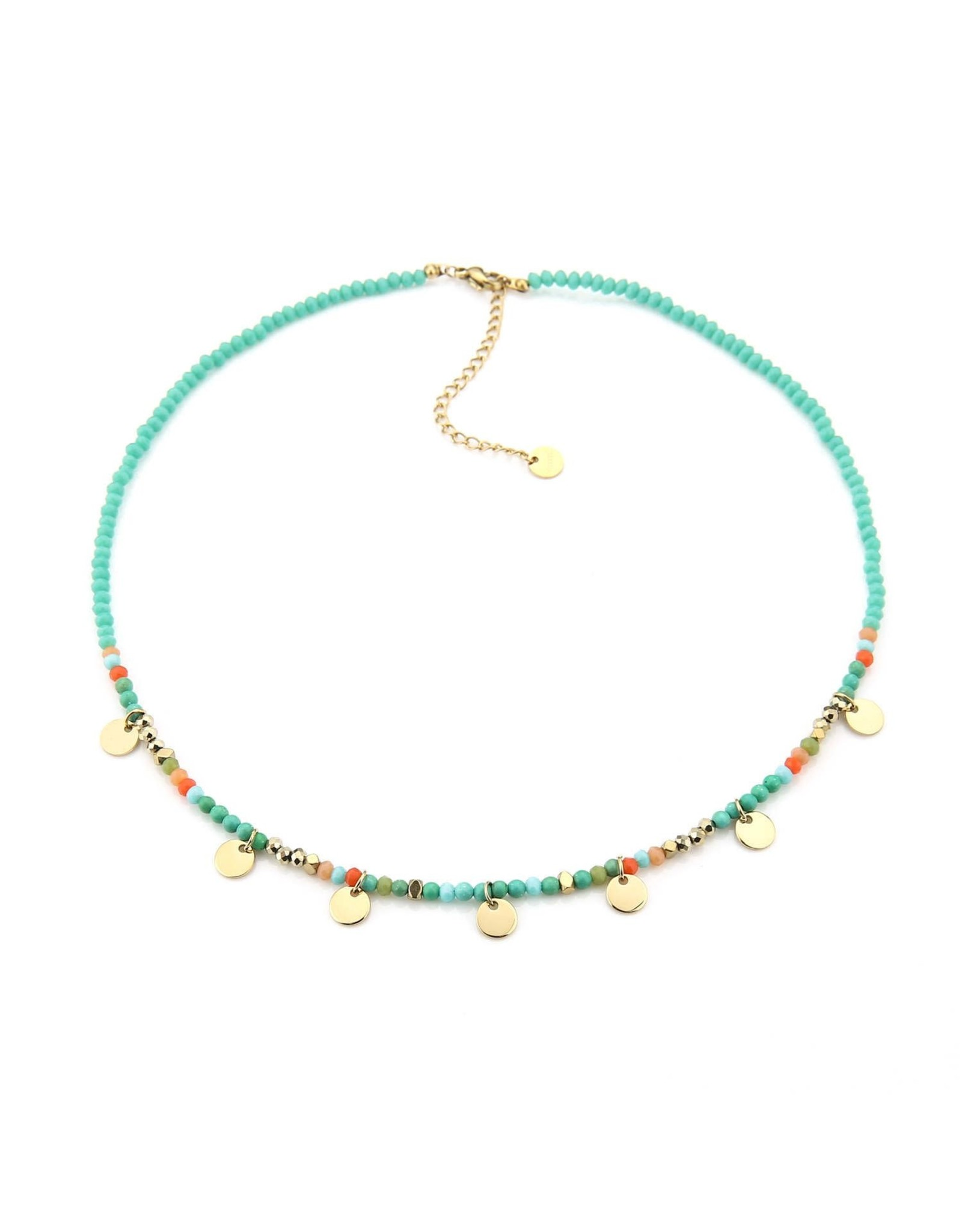 Ketting strass & schijfjes RVS turquoise