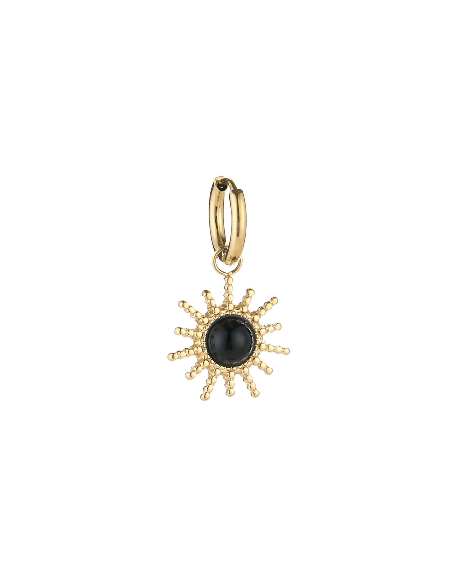 Creool RVS 12mm zon zwart goudkleurig 1 stuk