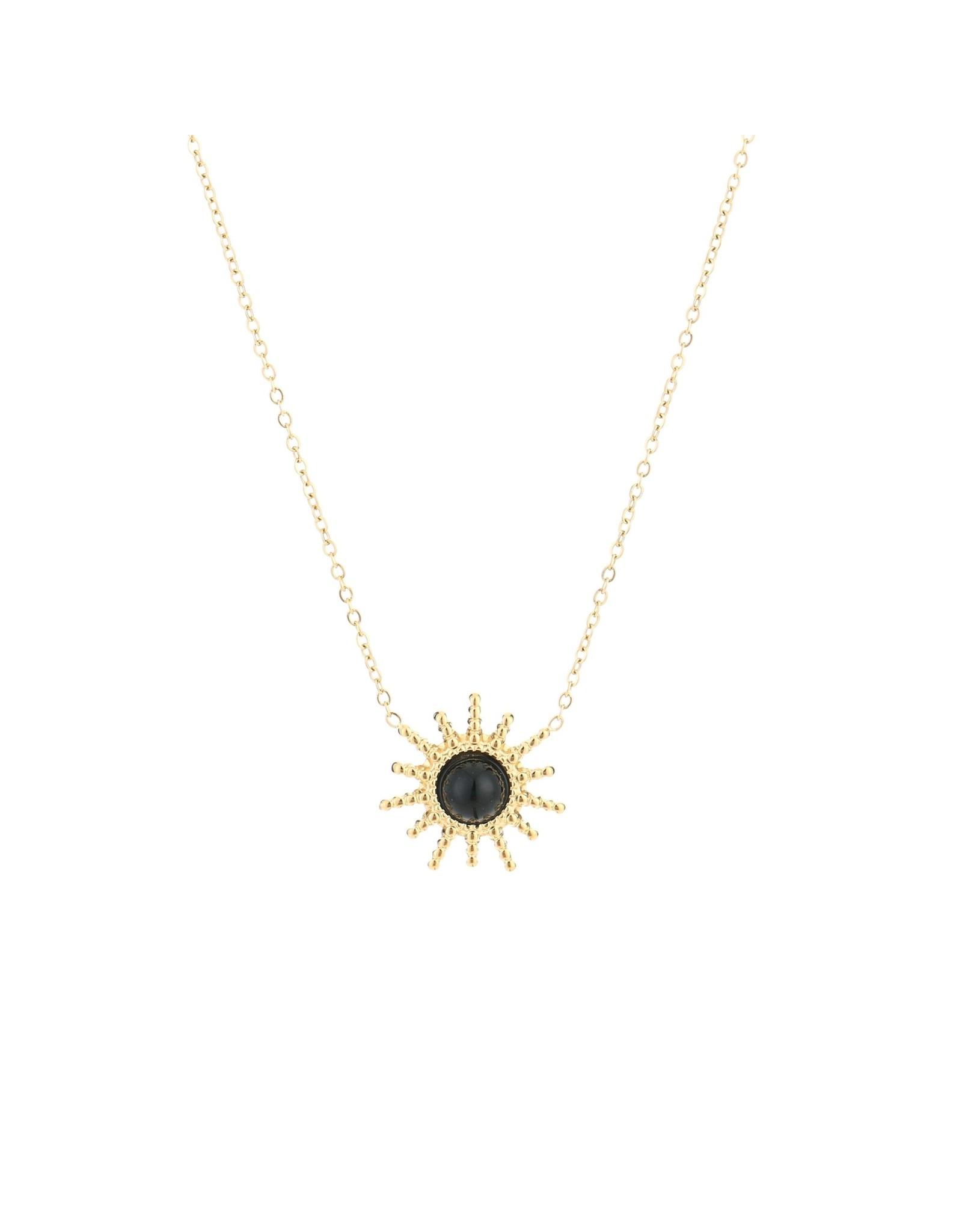 Ketting RVS zon zwart goudkleurig