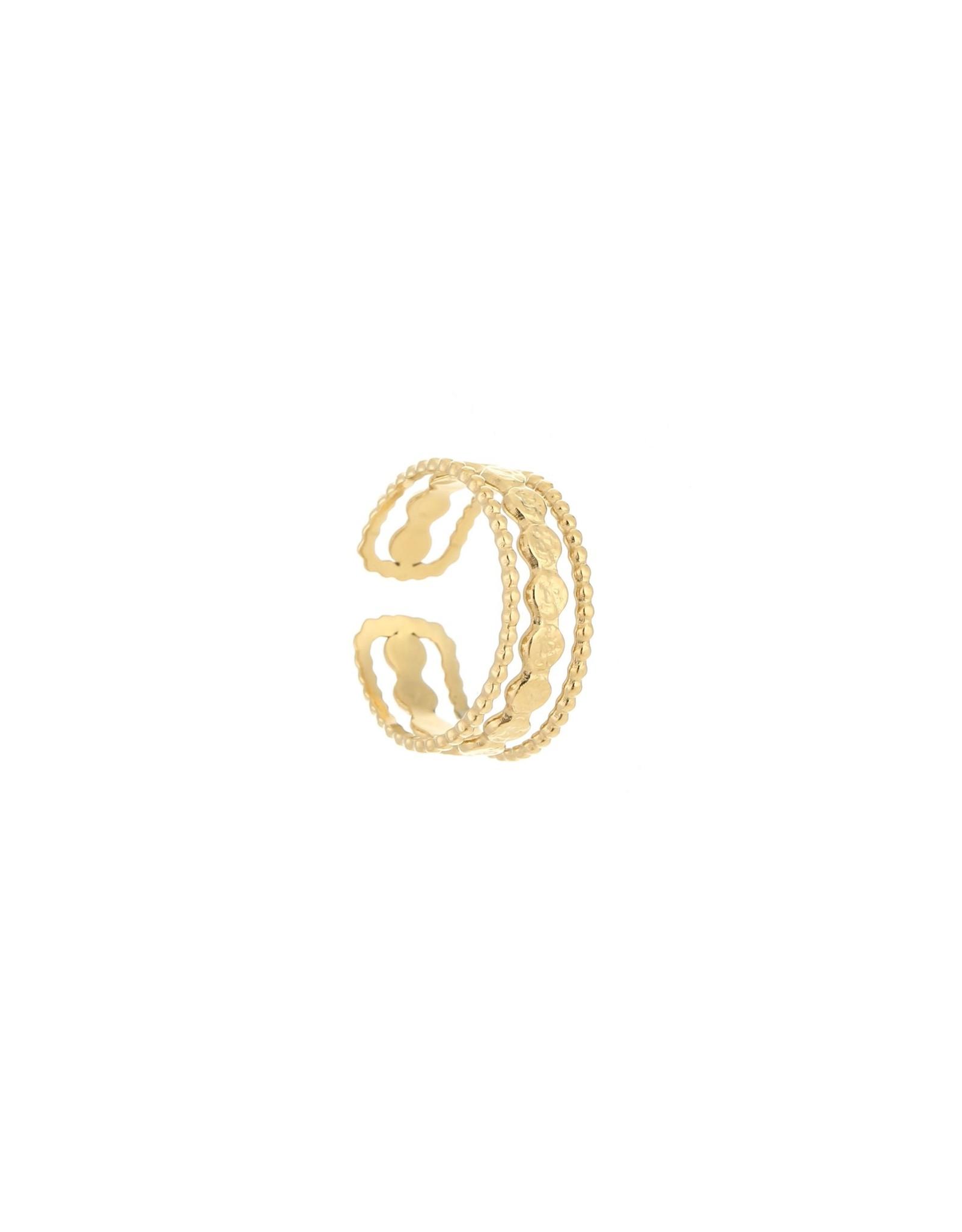 Ring RVS dubbel schijfjes goudkleurig