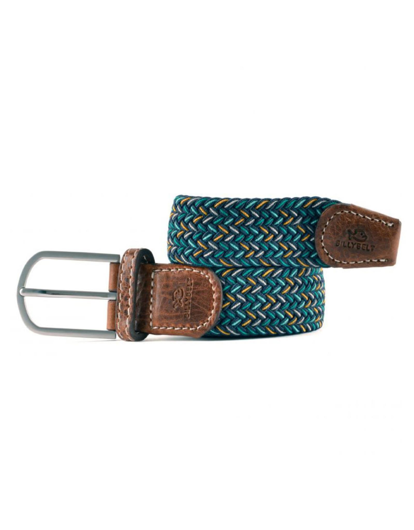 Riem visgraat donkerblauw/groen/geel/grijs T1