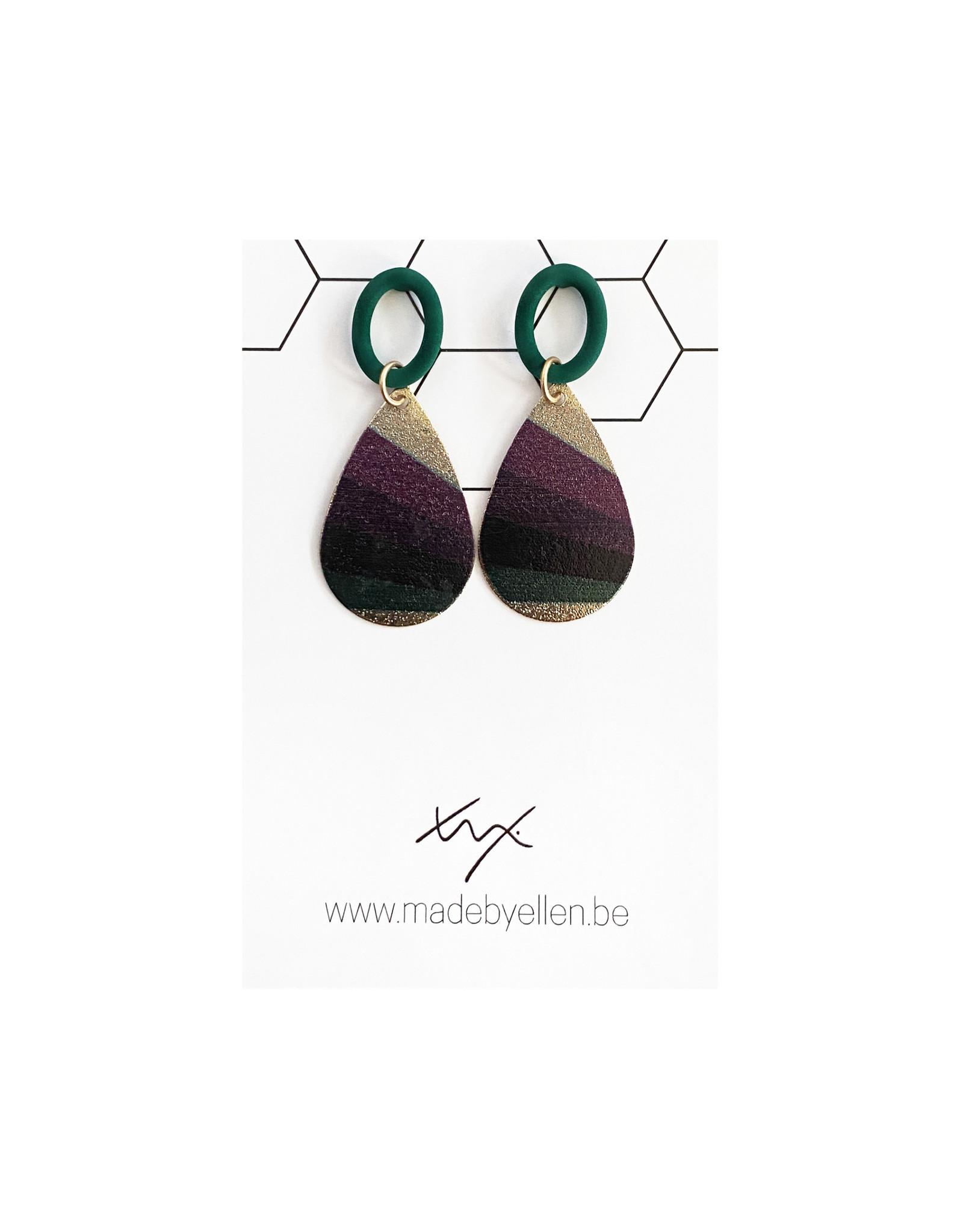 oorbEllen druppel gestreept paars-groen