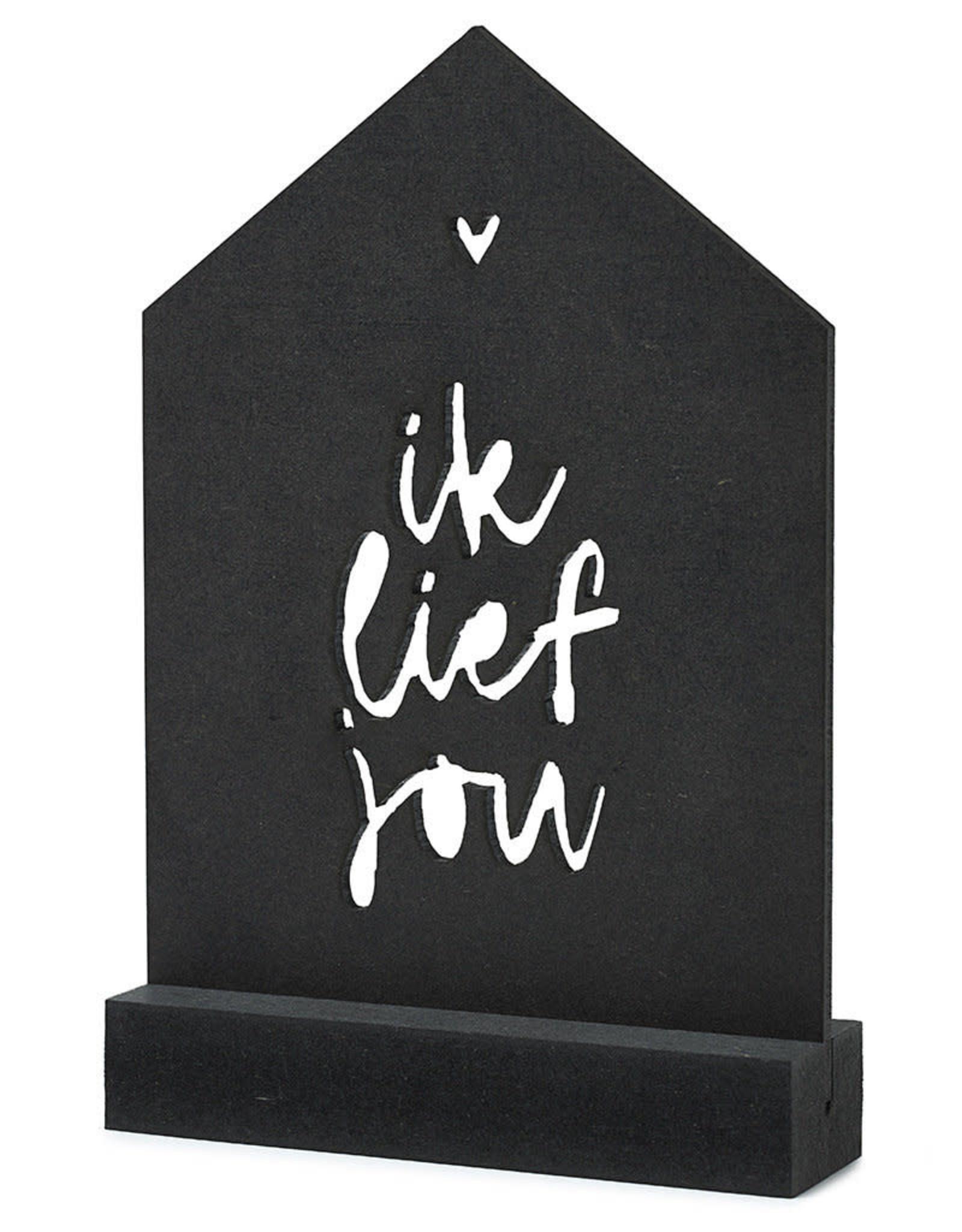 Gestanste kaart met houder 'Ik lief jou'