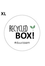 Stickers 5st. 'recycled box' wit 65mm