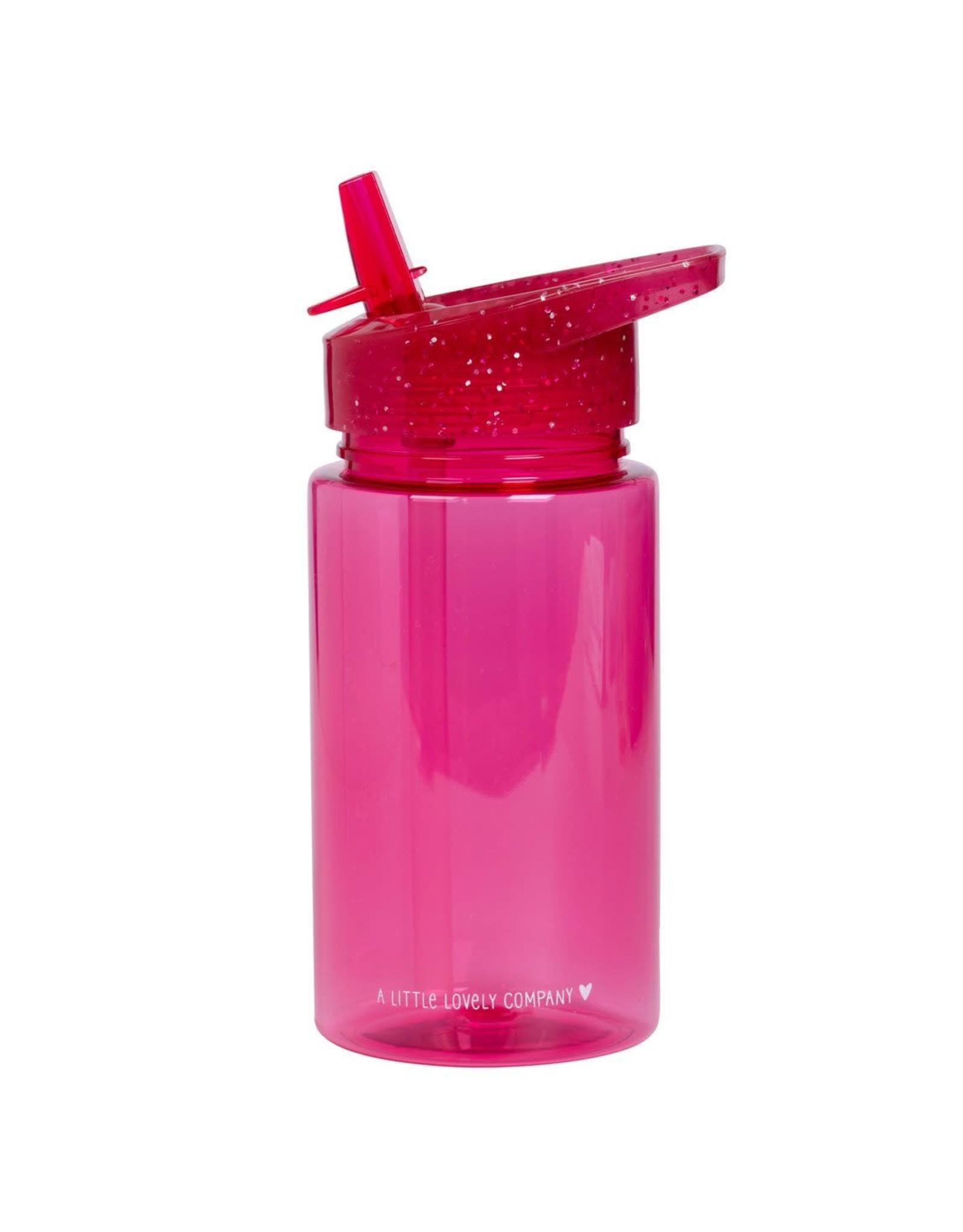 Drinkfles met rietje glitter roze
