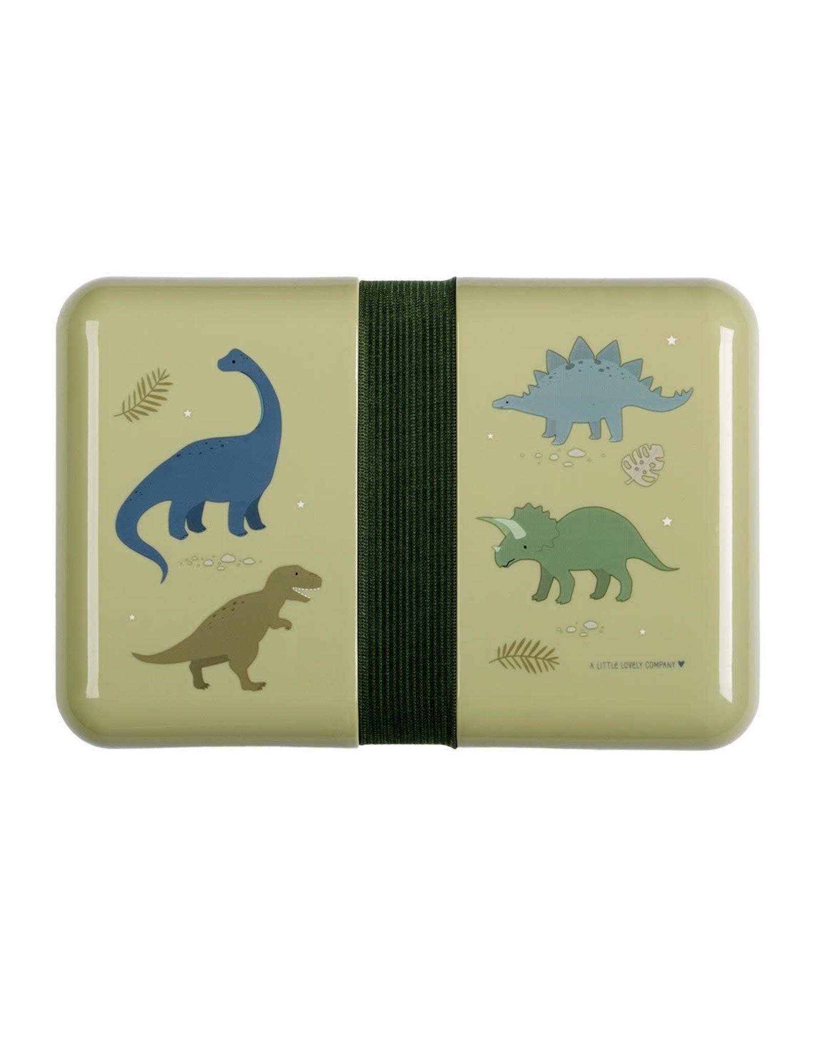 Brooddoos met rekker dinosaurus