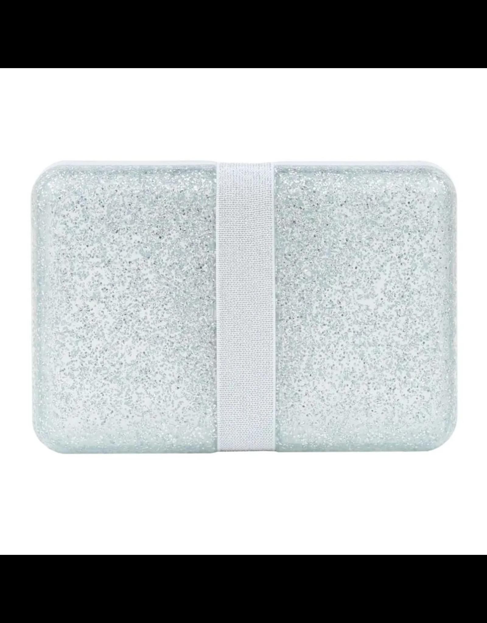 Brooddoos met rekker glitter zilver