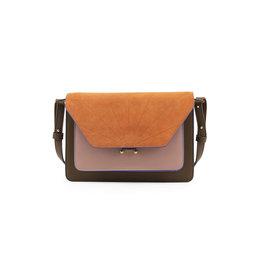 Handtas retro olijfgroen & oranje