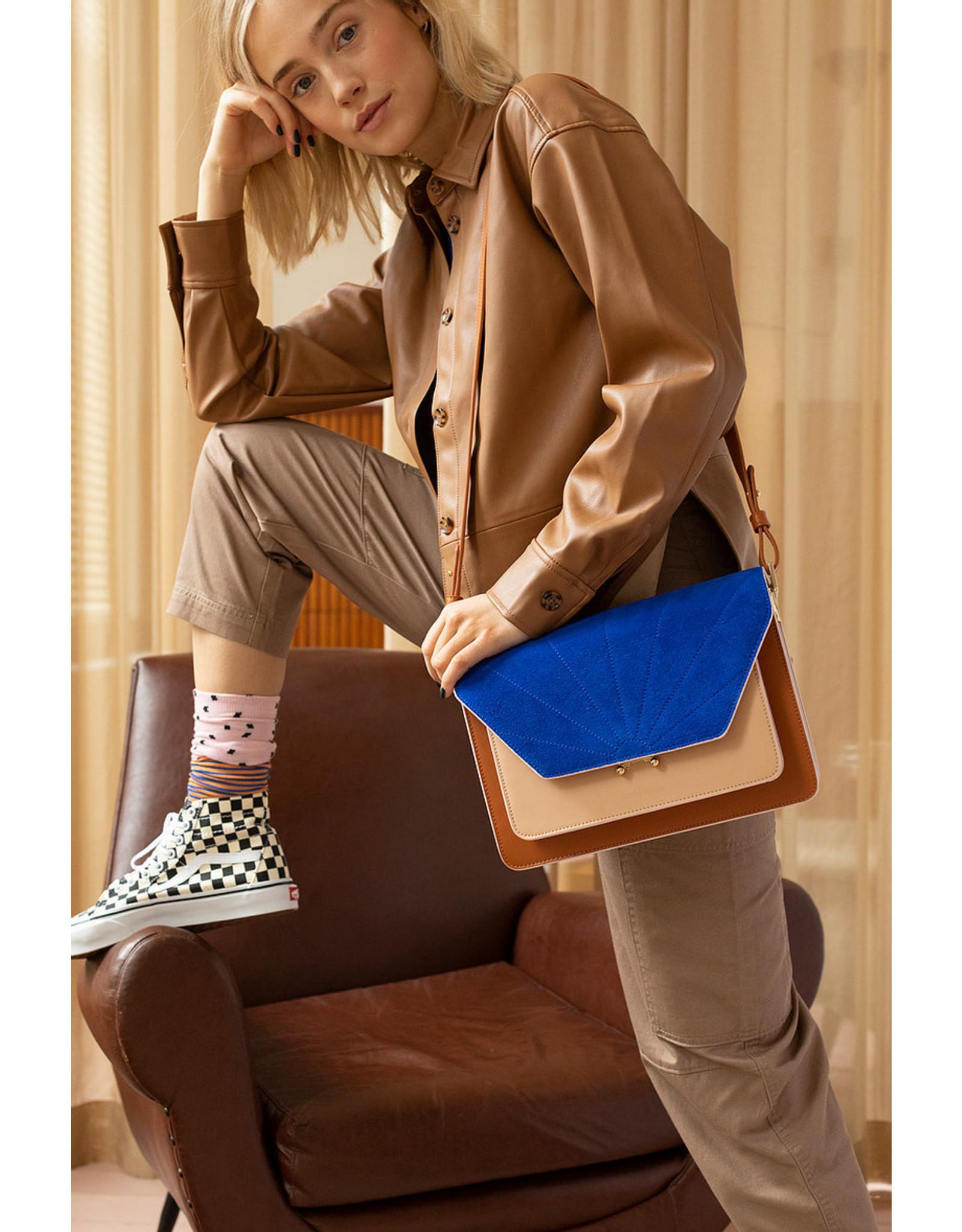 Handtas retro cognac & kobaltblauw