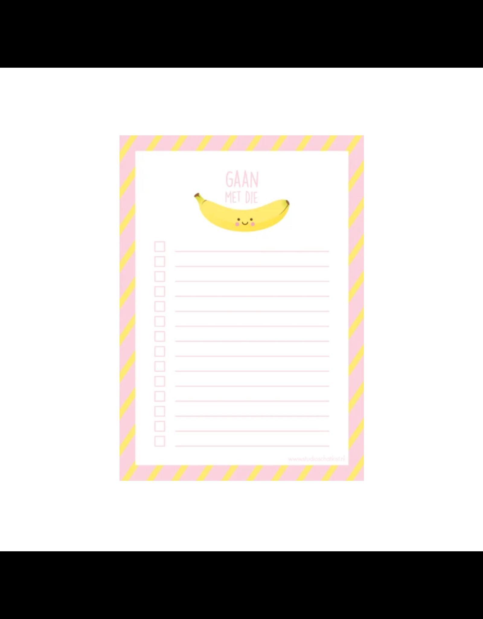 Notablokje A6 gaan met die banaan
