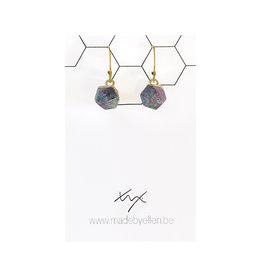 oorbEllen natuursteen hexagon paars-groen