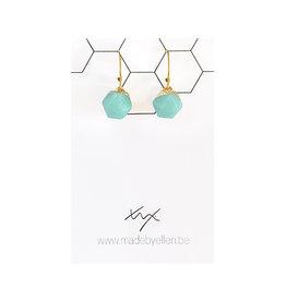 oorbEllen natuursteen hexagon turquoise