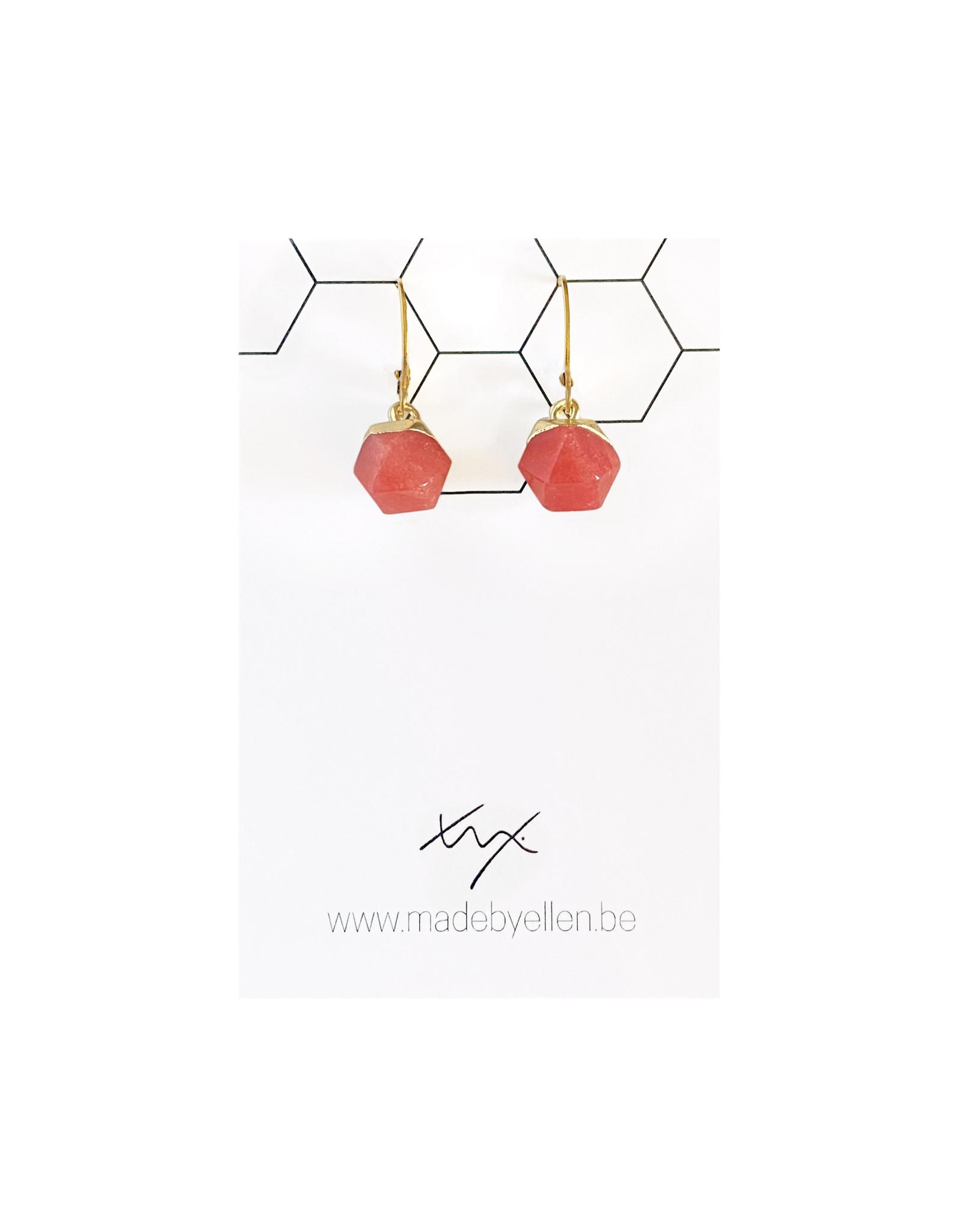oorbEllen natuursteen hexagon rood