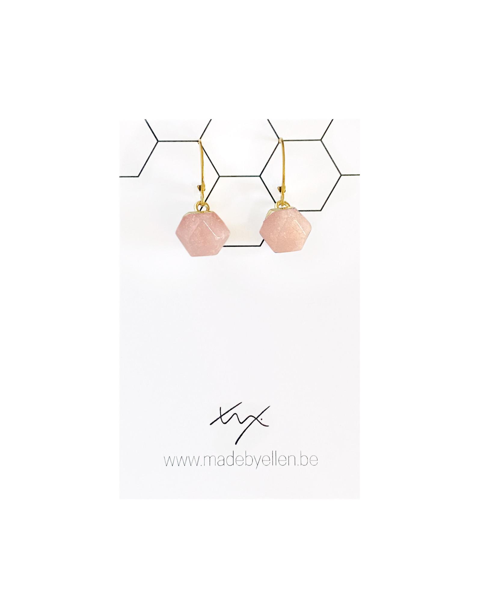 oorbEllen natuursteen hexagon roze
