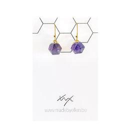 oorbEllen natuursteen hexagon paars