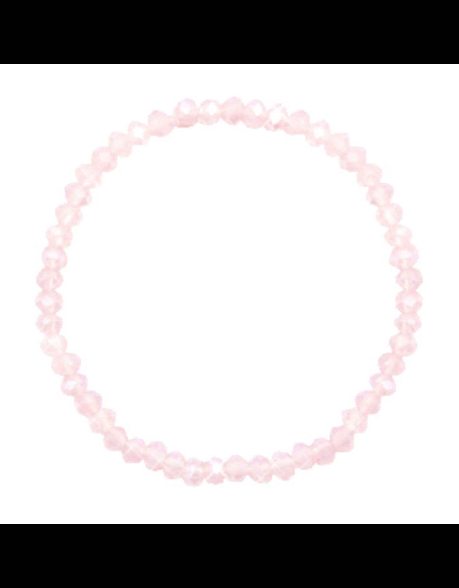 Armbandje strass transparant roze