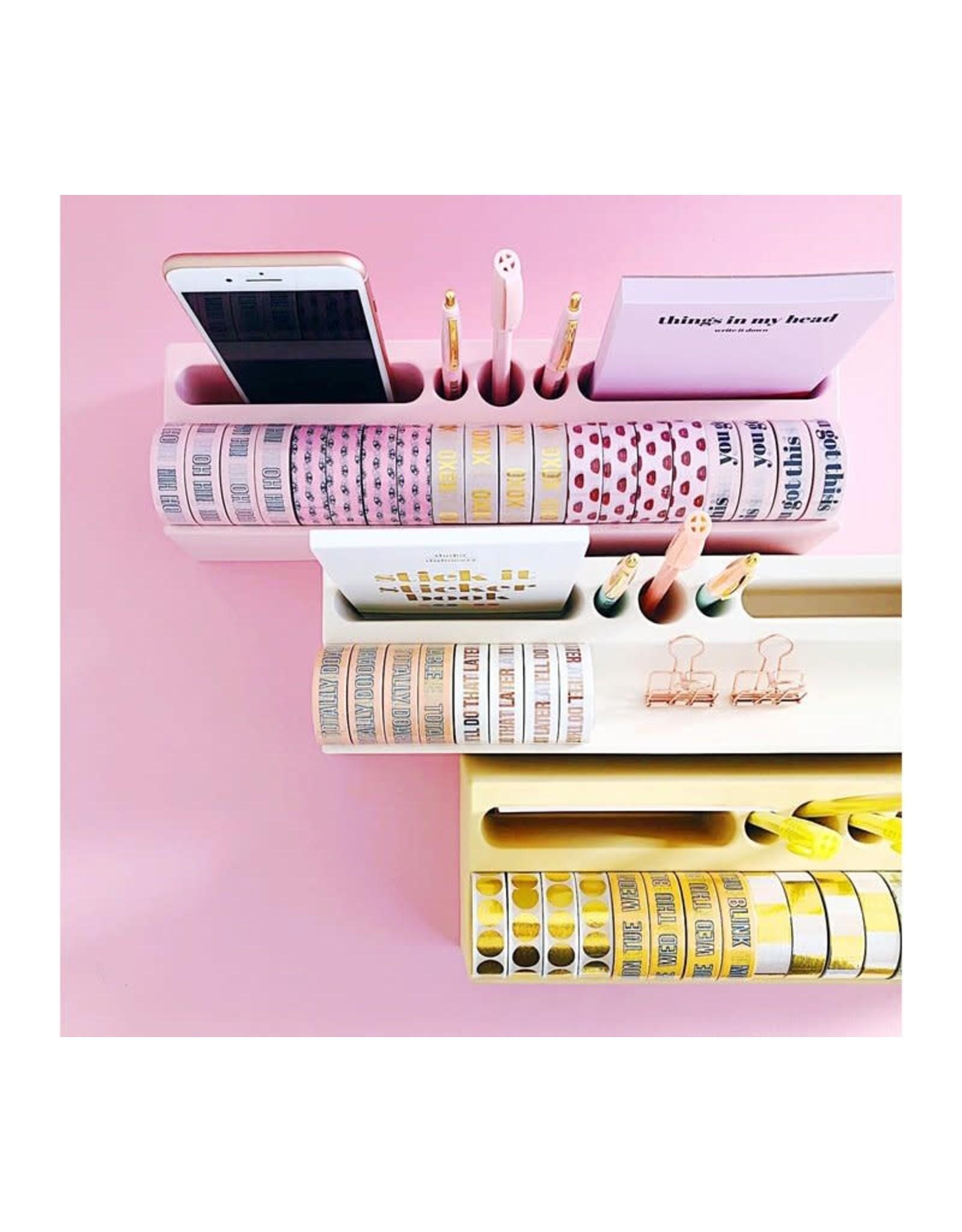 Desk organiser roze bamboe