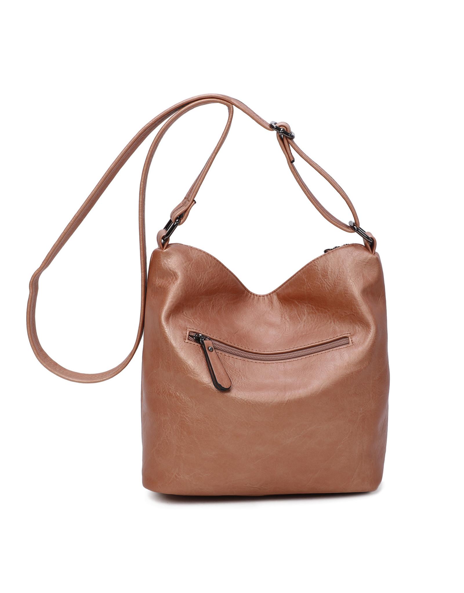 Handtas baggy recht metallic rosé