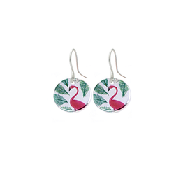 Hangertjes zilver 12mm flamingo