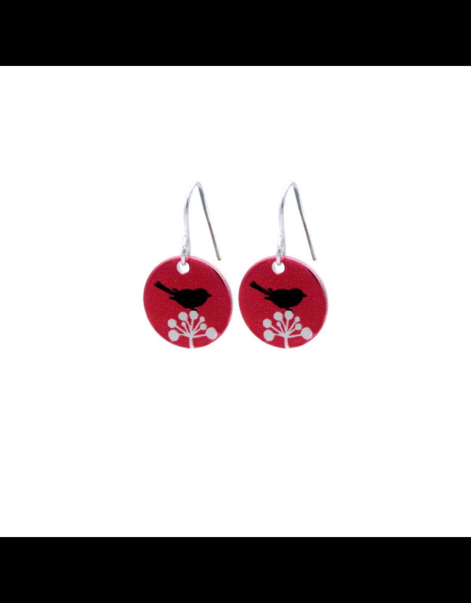 Hangertjes zilver 12mm vogel rood
