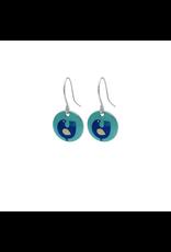 Hangertjes zilver 12mm vogel turquoise
