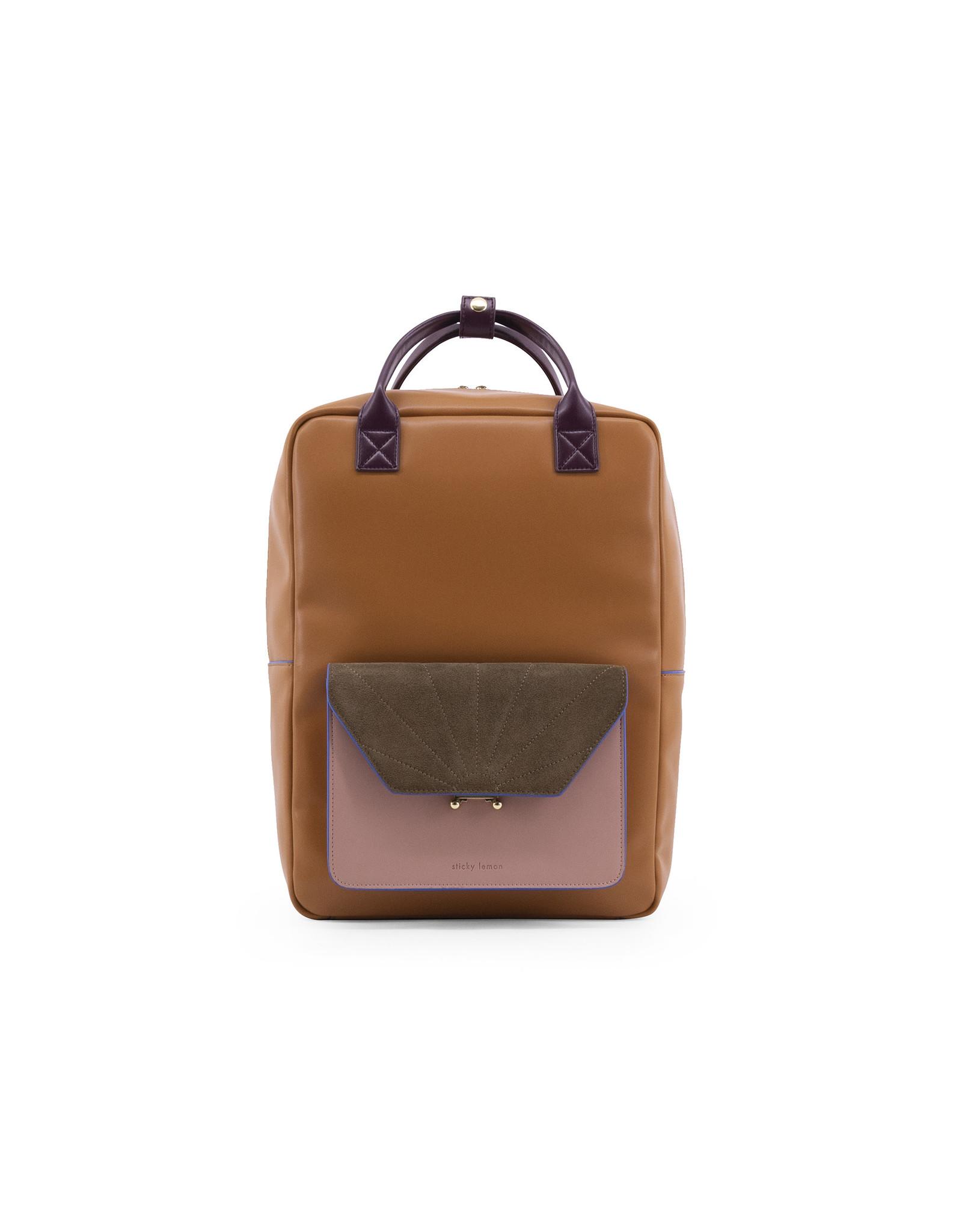 Rugzak/laptoptas retro camel kaki roze