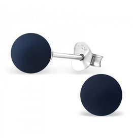 Stekertjes zilver bolletje 6mm donkerblauw
