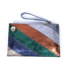 Handtasje/clutch regenboog zilver brons