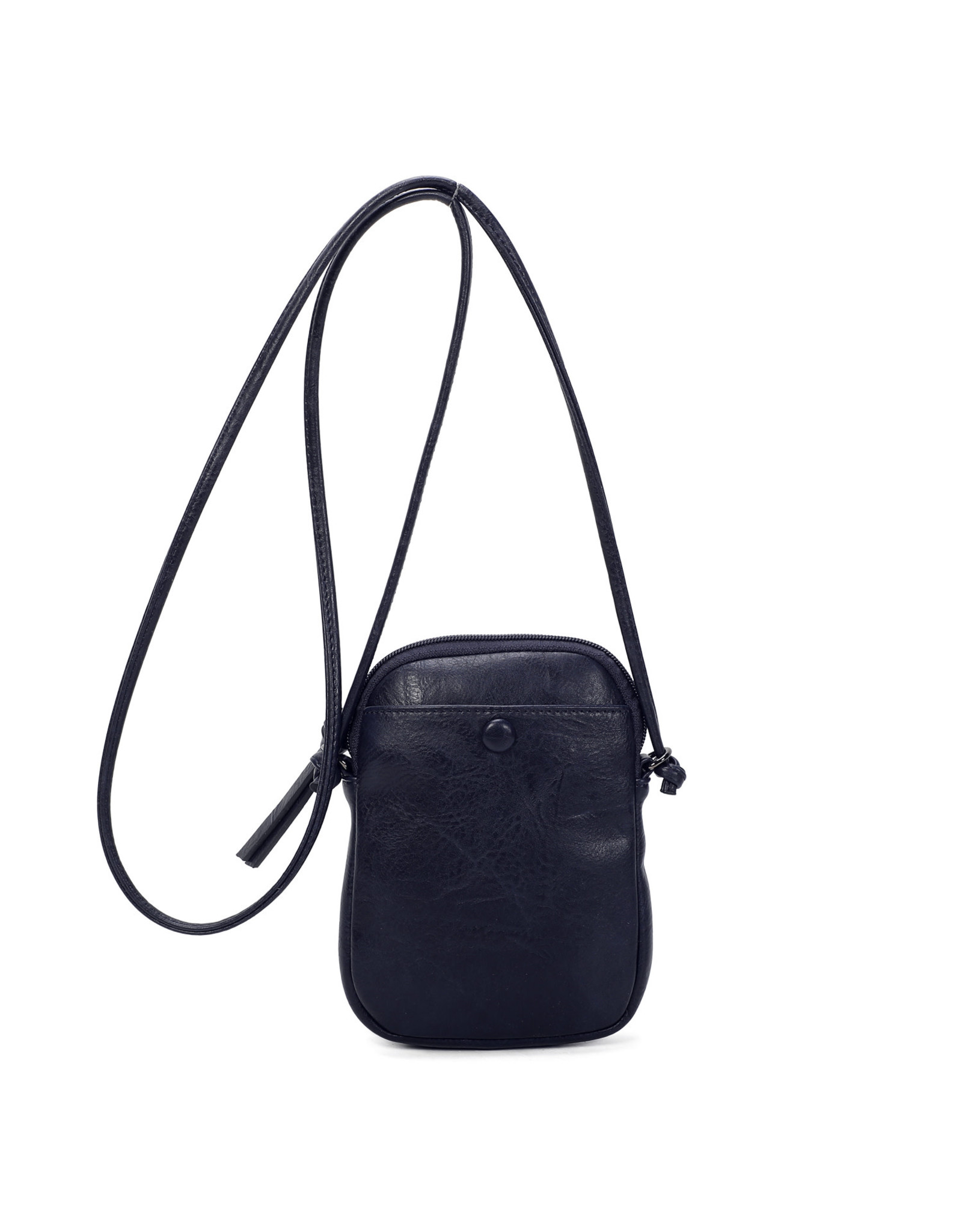 Handtasje retro knop donkerblauw